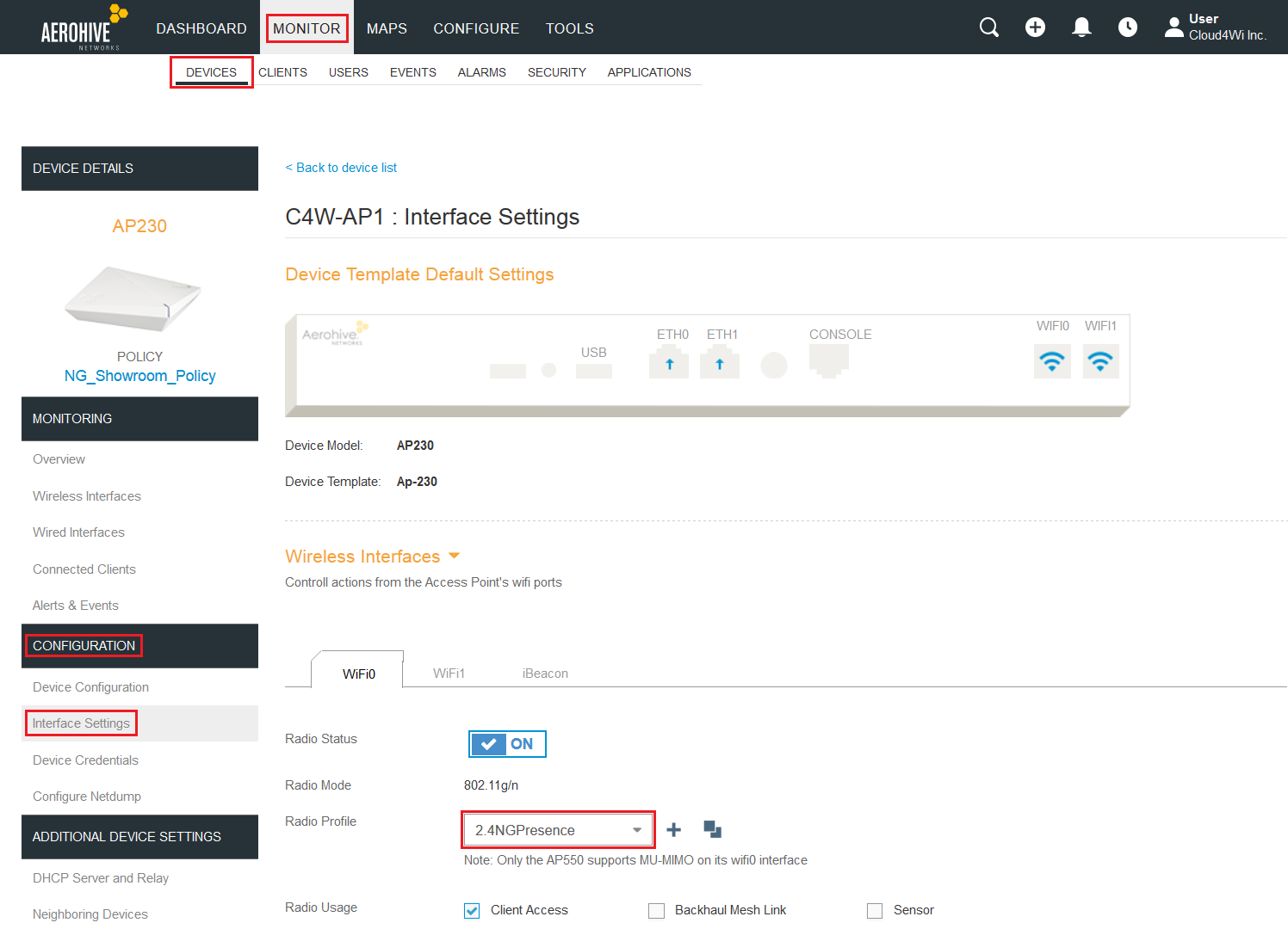 Configuring Aerohive for Spaces – Help Center