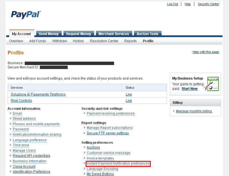 Configuring IPN (Instant Payment Notifications) with PayPal