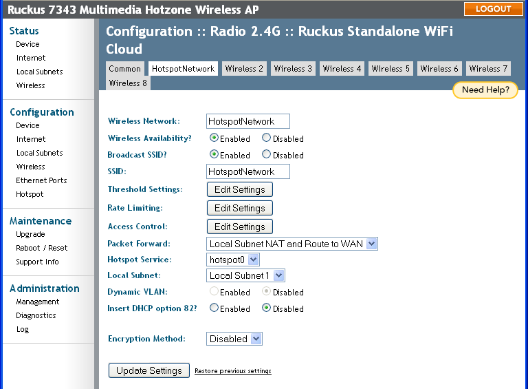 Ruckus Wireless (Standalone mode) – Help Center